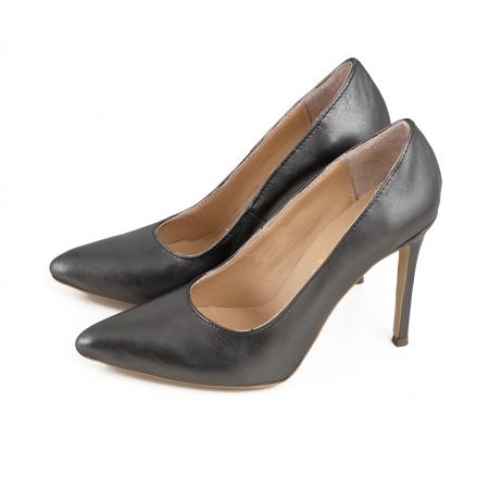 Pantofi Stiletto din piele gri metalizat1