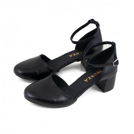 Pantofi cu varf rotund cu decupaj si bareta la calcai, din piele naturala neagra2