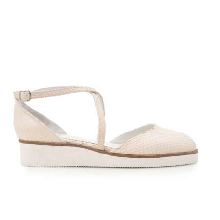 Pantofi decupati, din piele naturala bej cu presaj sarpe0