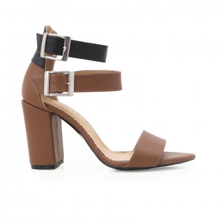 Sandale cu toc gros, din piele naturala maron si neagra0