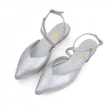 Balerini decupati, cu bareta peste glezna, din piele argintie texturata1