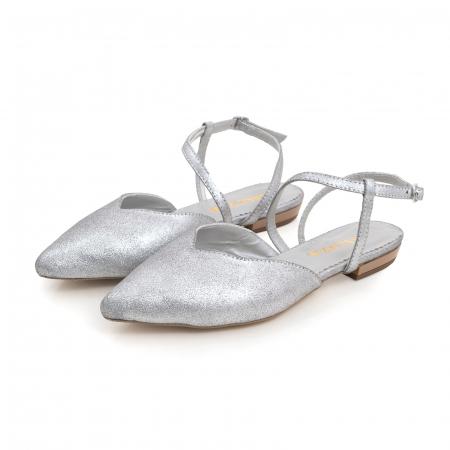 Balerini decupati, cu bareta peste glezna, din piele argintie texturata2