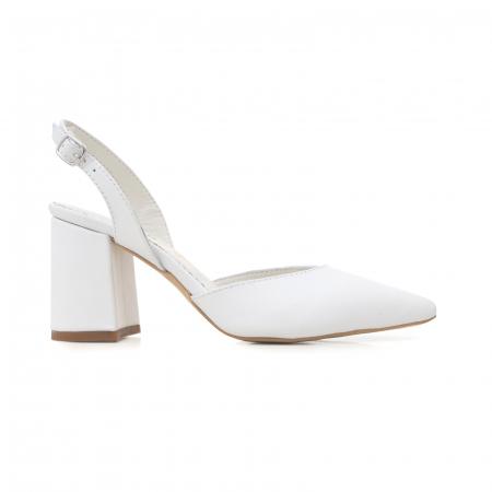 Pantofi cu varf ascutit decupati, cu bareta peste calcai, din piele naturala alba [0]