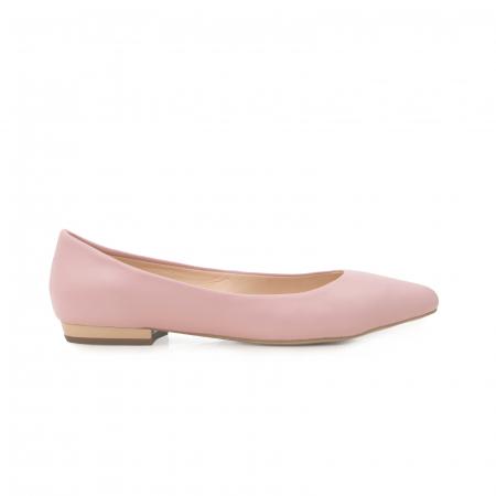 Balerini cu varf ascutit, din piele naturala roz0