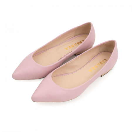 Balerini cu varf ascutit, din piele naturala roz1