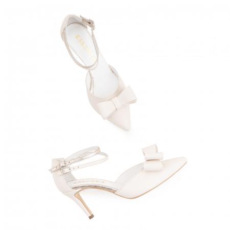 Pantofi stiletto cu funda dubla, din piele naturala alb unt si auriu pal2