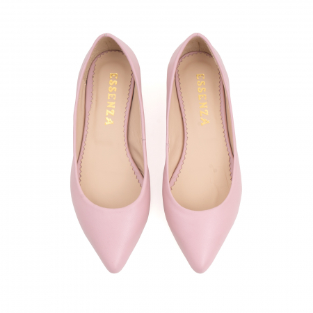 Balerini cu varf ascutit, din piele naturala roz2