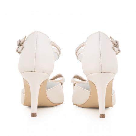 Pantofi stiletto cu funda dubla, din piele naturala alb unt si auriu pal3