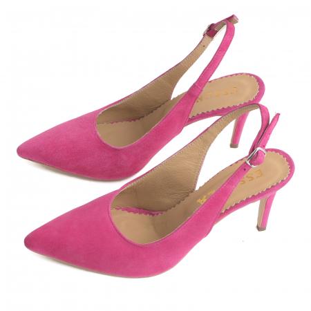 Pantofi decupati la spate, din piele intoarsa ciclam2