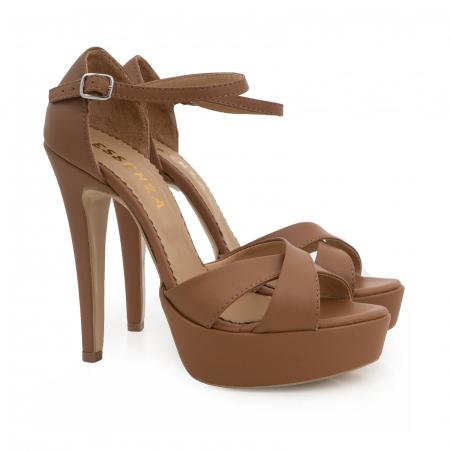 Sandale din piele naturala maron, cu toc de 14cm si platforma de 3cm2