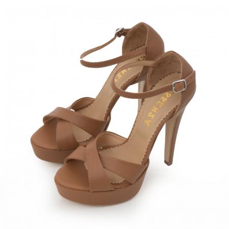 Sandale din piele naturala maron, cu toc de 14cm si platforma de 3cm3