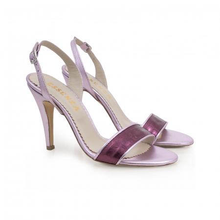 Sandale din piele naturala metalizata rose si visinie1