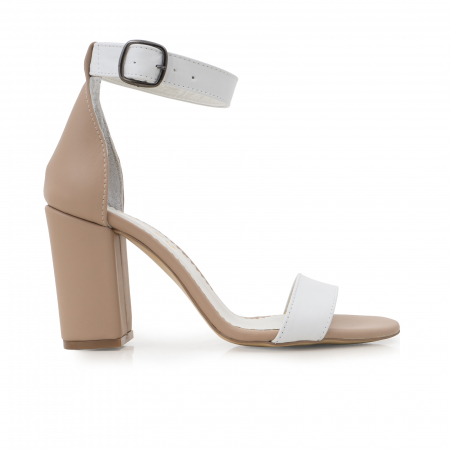 Sandale cu toc gros, din piele naturala bej si alba0