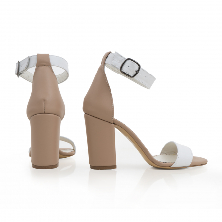 Sandale cu toc gros, din piele naturala bej si alba2