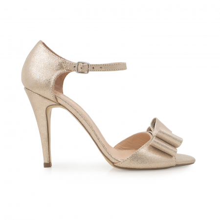 Sandale cu funde duble, din piele naturala aurie0