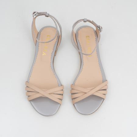 Sandale cu talpa joasa, din piele naturala aurie si bej2