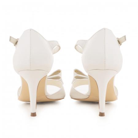 Sandale din piele naturala alb unt, cu funda dubla [3]