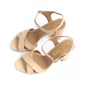 Sandale din piele naturala nude, cu toc patrat2