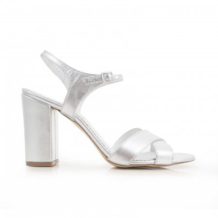 Sandale cu toc gros, din piele naturala argintie0
