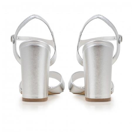Sandale cu toc gros, din piele naturala argintie3