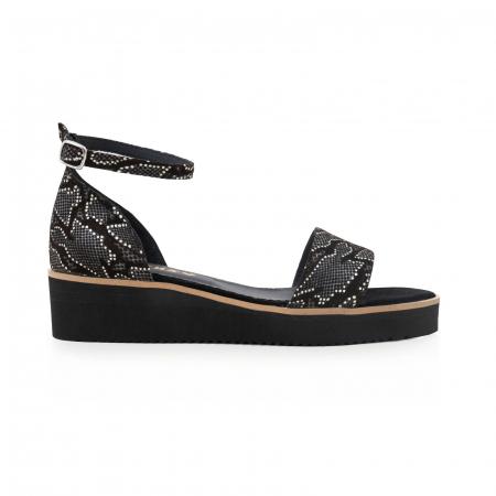 Sandale din piele naturala intoarsa neagra si piele cu imprimeu0