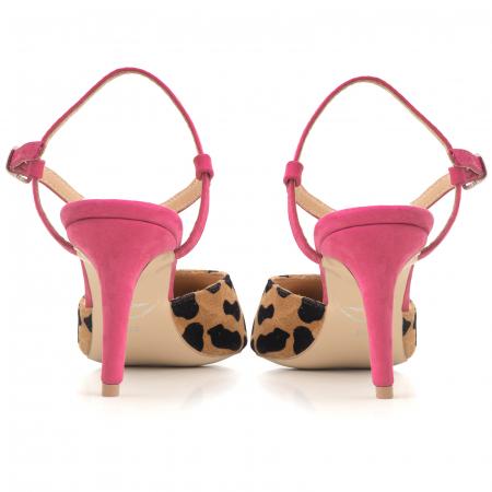 Pantofi stiletto cu barete de sustinere la calacai, din piele inaturala nabuc roz si leopard3