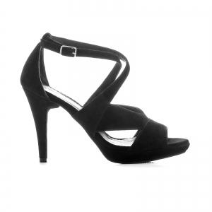 Sandale din piele intoarsa neagra0