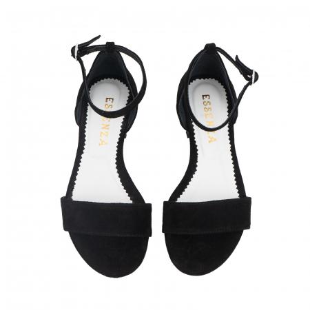 Sandale din piele naturala intoarsa neagra, cu perle albe aplicate pe toc2