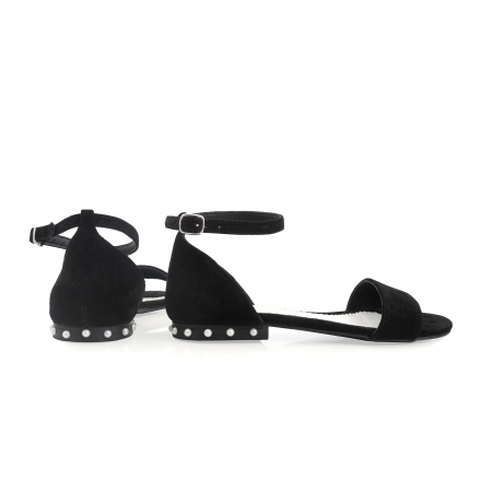 Sandale din piele naturala intoarsa neagra, cu perle albe aplicate pe toc3