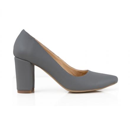 Pantofi cu toc patrat, din piele naturala gri0