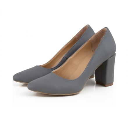 Pantofi cu toc patrat, din piele naturala gri1