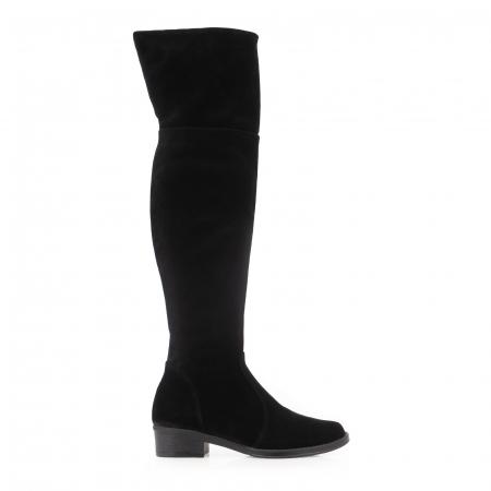 Cuizme peste genunchi, din piele intoarsa neagra si talpa joasa0