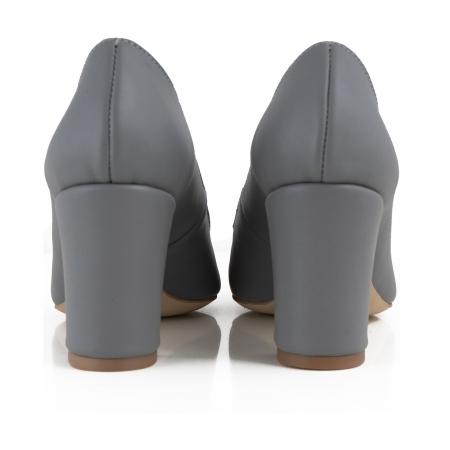 Pantofi cu toc patrat, din piele naturala gri3