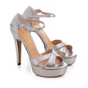 Sandale din piele argintie platina [1]