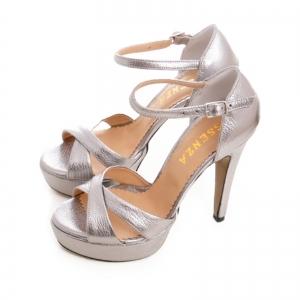 Sandale din piele argintie platina [2]