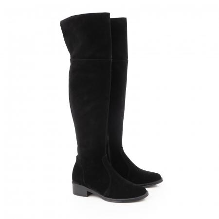 Cuizme peste genunchi, din piele intoarsa neagra si talpa joasa1