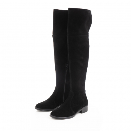 Cuizme peste genunchi, din piele intoarsa neagra si talpa joasa2