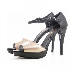 Sandale din piele neagra si auriue [1]