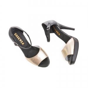 Sandale din piele neagra si auriue [2]