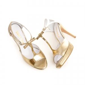 Sandale cu fundita, din piele aurie lacuita2