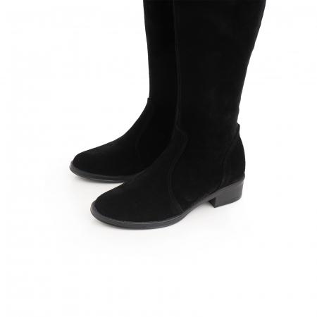 Cuizme peste genunchi, din piele intoarsa neagra si talpa joasa3