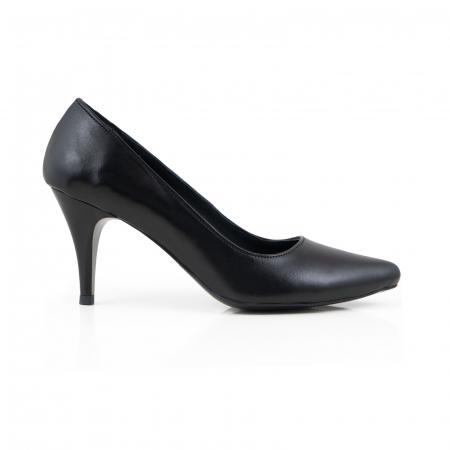 Pantofi stiletto din piele naturala neagra0