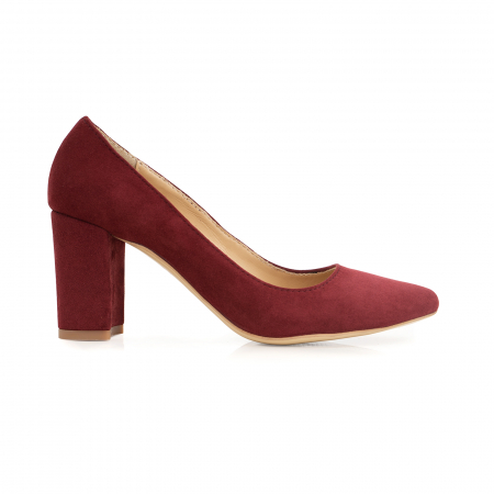 Pantofi cu toc patrat, din piele naturala intoarsa, rosu-burgund0