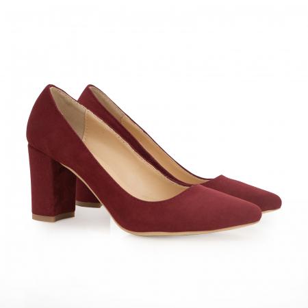 Pantofi cu toc patrat, din piele naturala intoarsa, rosu-burgund1