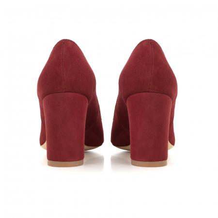 Pantofi cu toc patrat, din piele naturala intoarsa, rosu-burgund3