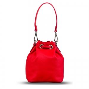 Poseta Kristy mini bucket  din piele naturala rosie3