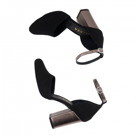 Pantofi cu varf rotund cu decupaj si bareta la calcai, din piele intoarsa neagra si piele laminata broz3