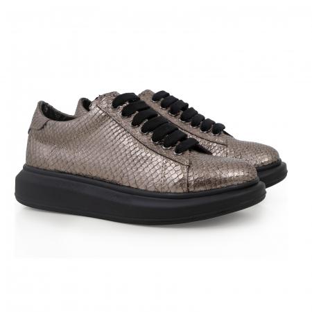Pantofi cu talpă groasă, realizati din piele naturala, bronz laminat cu textura tip piele de sarpe1