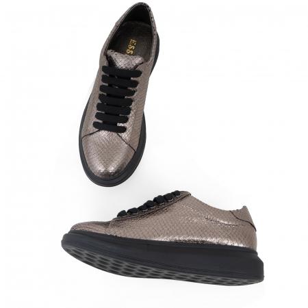 Pantofi cu talpă groasă, realizati din piele naturala, bronz laminat cu textura tip piele de sarpe3