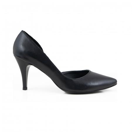 Pantofi stiletto din piele naturala neagra, cu decupaj interior0